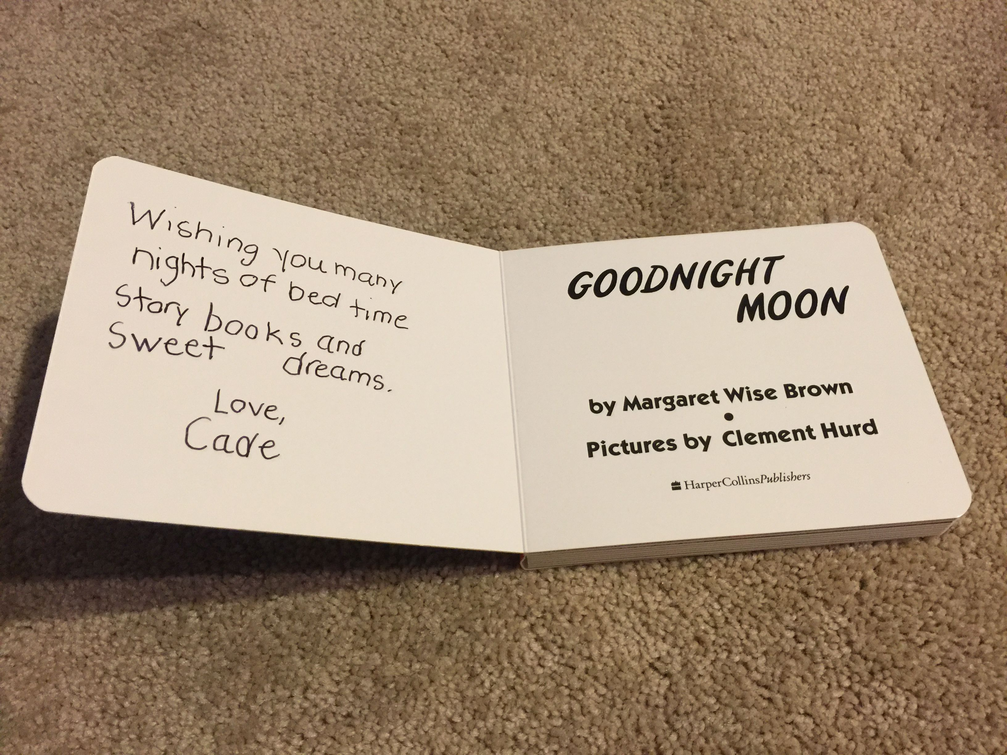 message in the bedtime story book goodnight moon that my son wrote