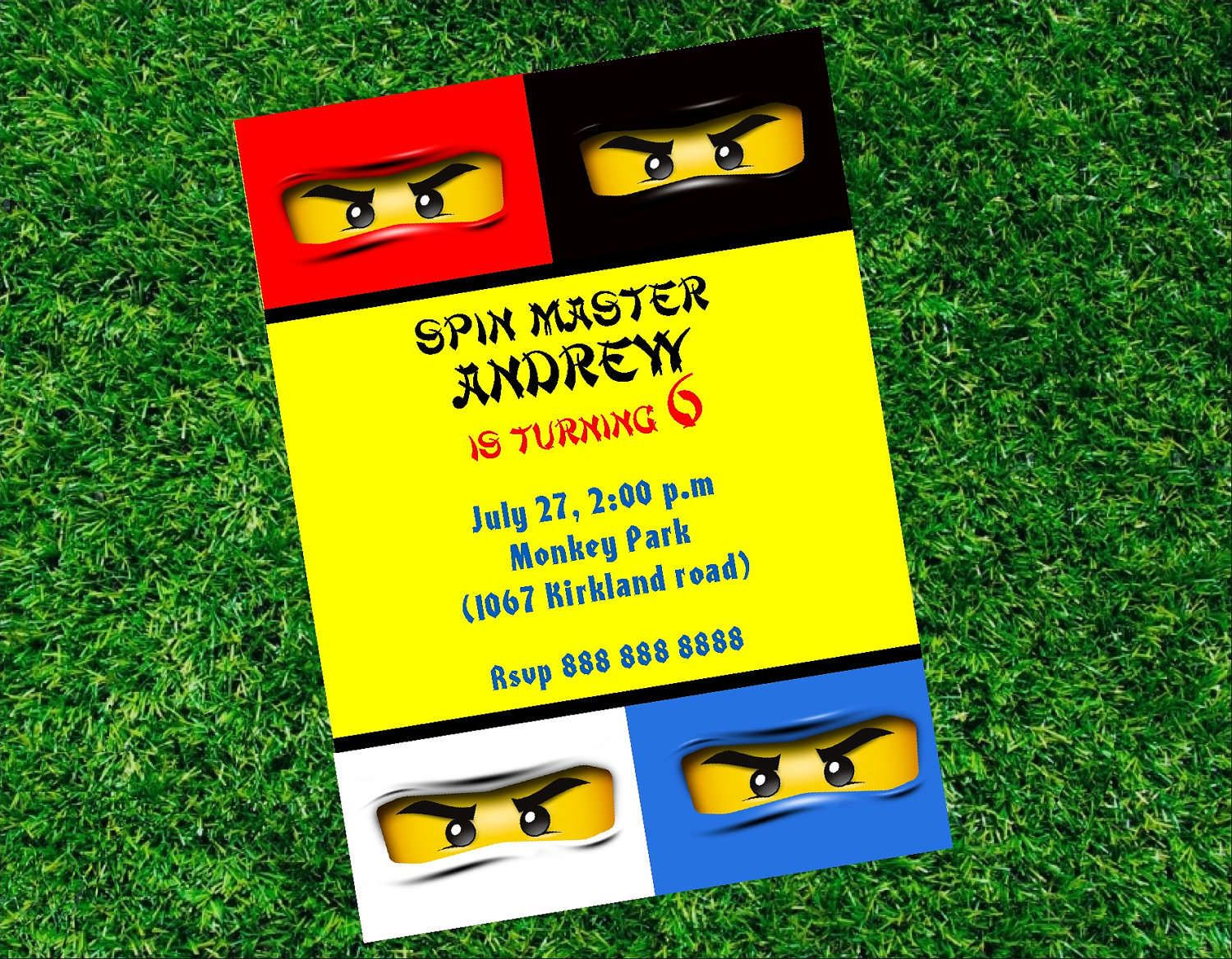 Lego Ninjago Birthday Party Invitations Printable | Lego Party ...