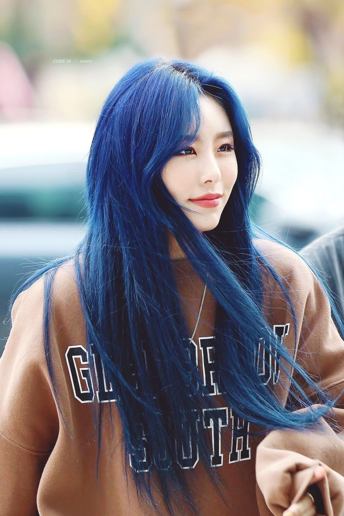 Blue Hair Wheein Mamamoo Kpop Hair Color Blue Hair Kpop Hair