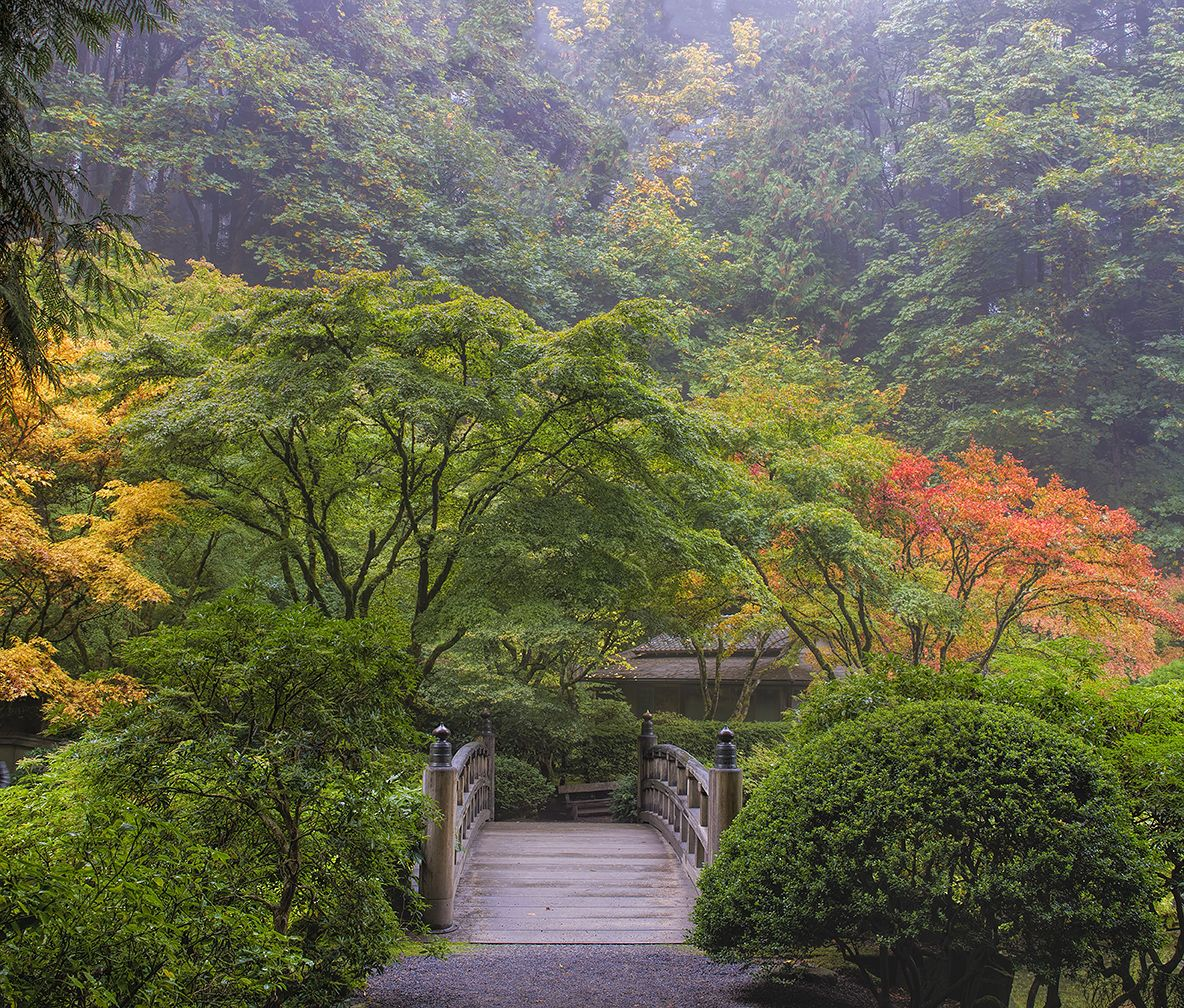 Wood bridge at portland japanese garden with fall colors for Japanese garden colors