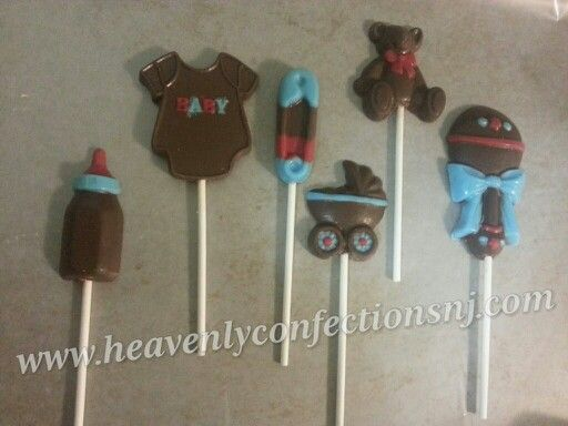 Brown, red, and blue assorted baby shower lollipops