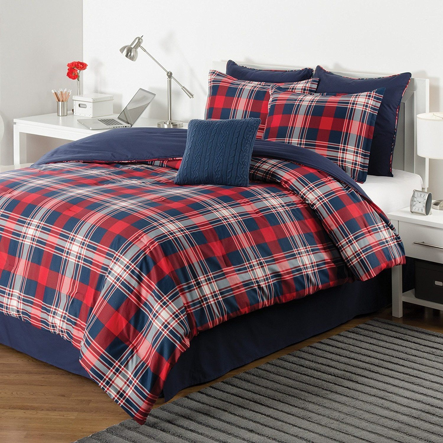 White Red Navy Blue Plaid Comforter Twin Set Cozy Warm Cabin Themed Bedding Checked Lumberjack Pattern Lodge Southwest Tartan Madras Hunting Country