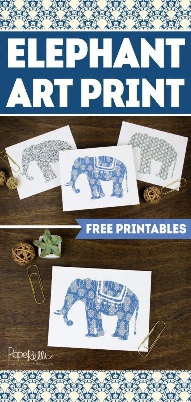 FREE PRINTABLE! Set of 3 Elephant Art Prints | designed by Paperelli for Remodelaholic.com by alissa