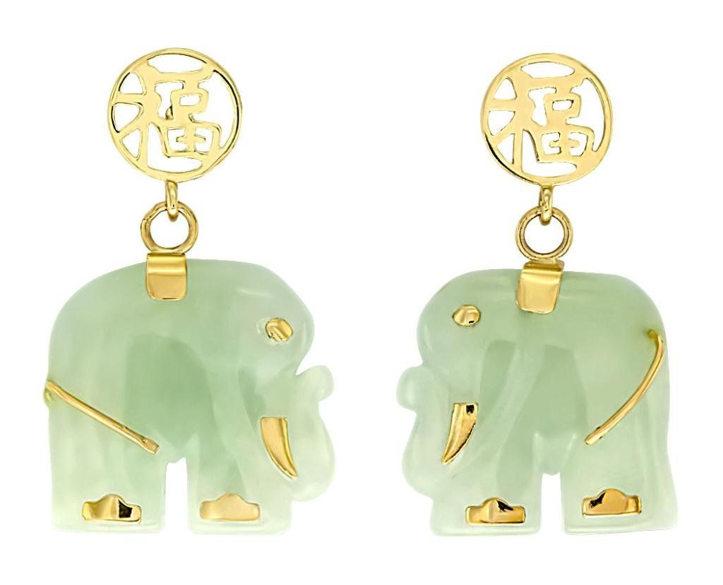 Designer 14k solid yellow gold and jade gemstone elephant earrings designer 14k solid yellow gold and jade gemstone elephant earrings freerunsca Images