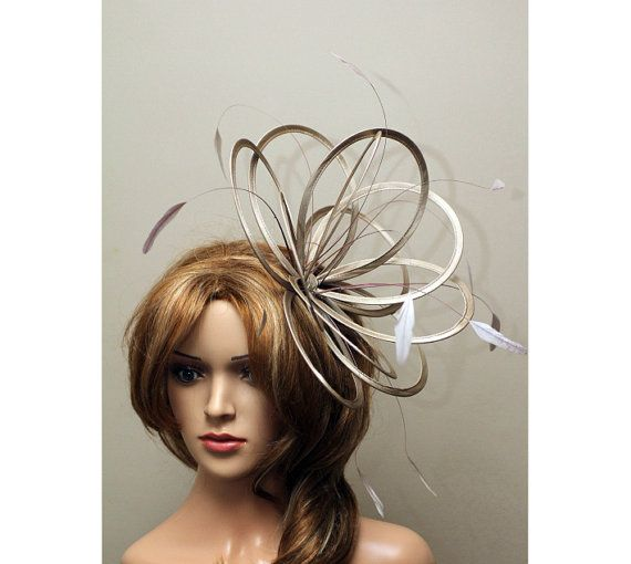 53d038afb0381 Taupe Nude Satin Feather Fascinator Hat - wedding