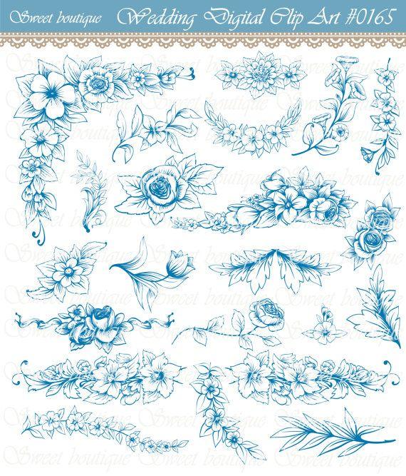 Navy Blue Flower Flower Clipart Floral Digital Clipart Digital