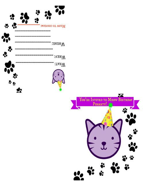 Zensible Mama FREE Printable Cat Themed Birthday Invite Card Invitationcard Pawprint Cats Party Zensiblemama Fourfold