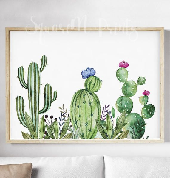 CACTUS Watercolor Print, Succulents Wall Art, Gallery Poster, Cactus Flower  Printable, Home Wall Decor, Illustration, Digital Download