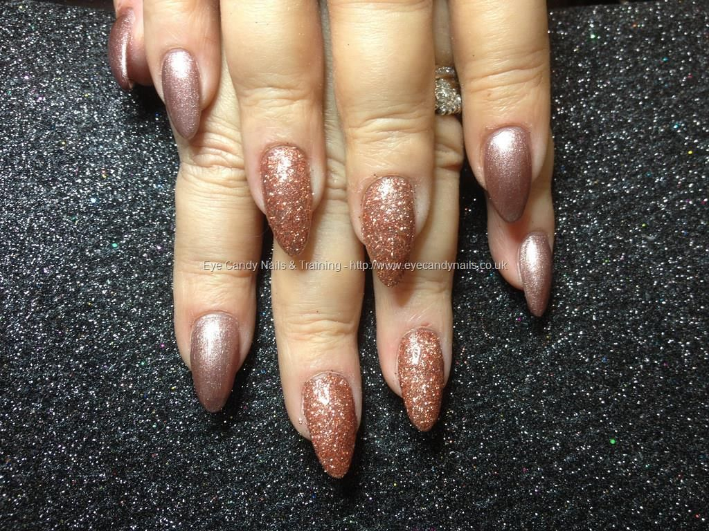 Acrylic nails with rose gold glitter