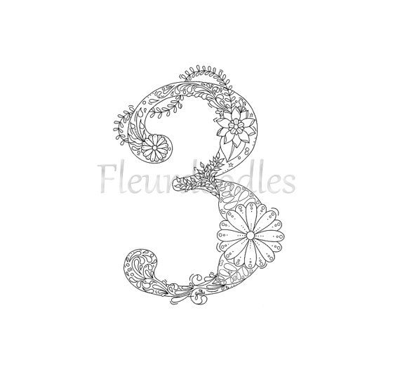 Pin Auf Floral Numbers By Fleurdoodles