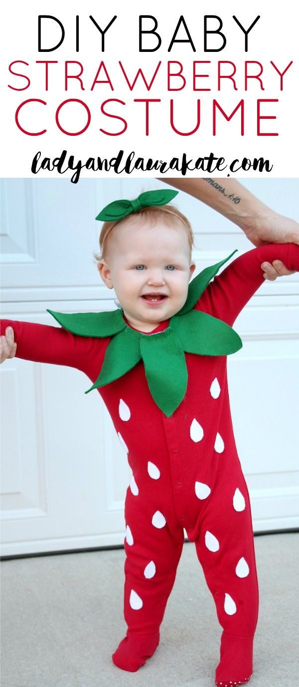 f89443618 Make your own DIY baby strawberry costume for Halloween with this easy  tutorial! Plus a free downloadable stencil for all the felt pieces!