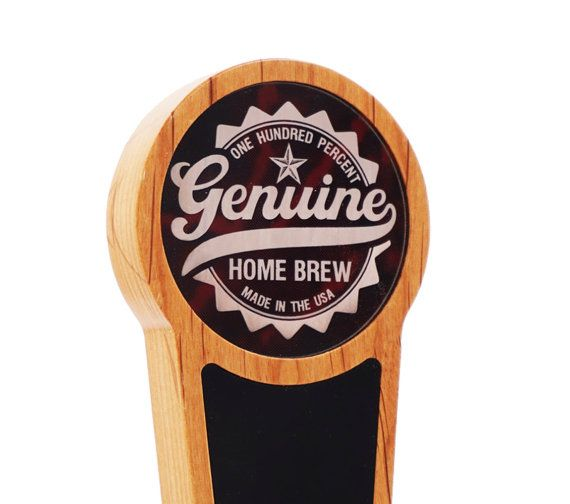 This beautiful tap handle features a laser engraved marbled acrylic insert with our Genuine Home Brew logo and a black acrylic insert for use with liquid chalk pens.