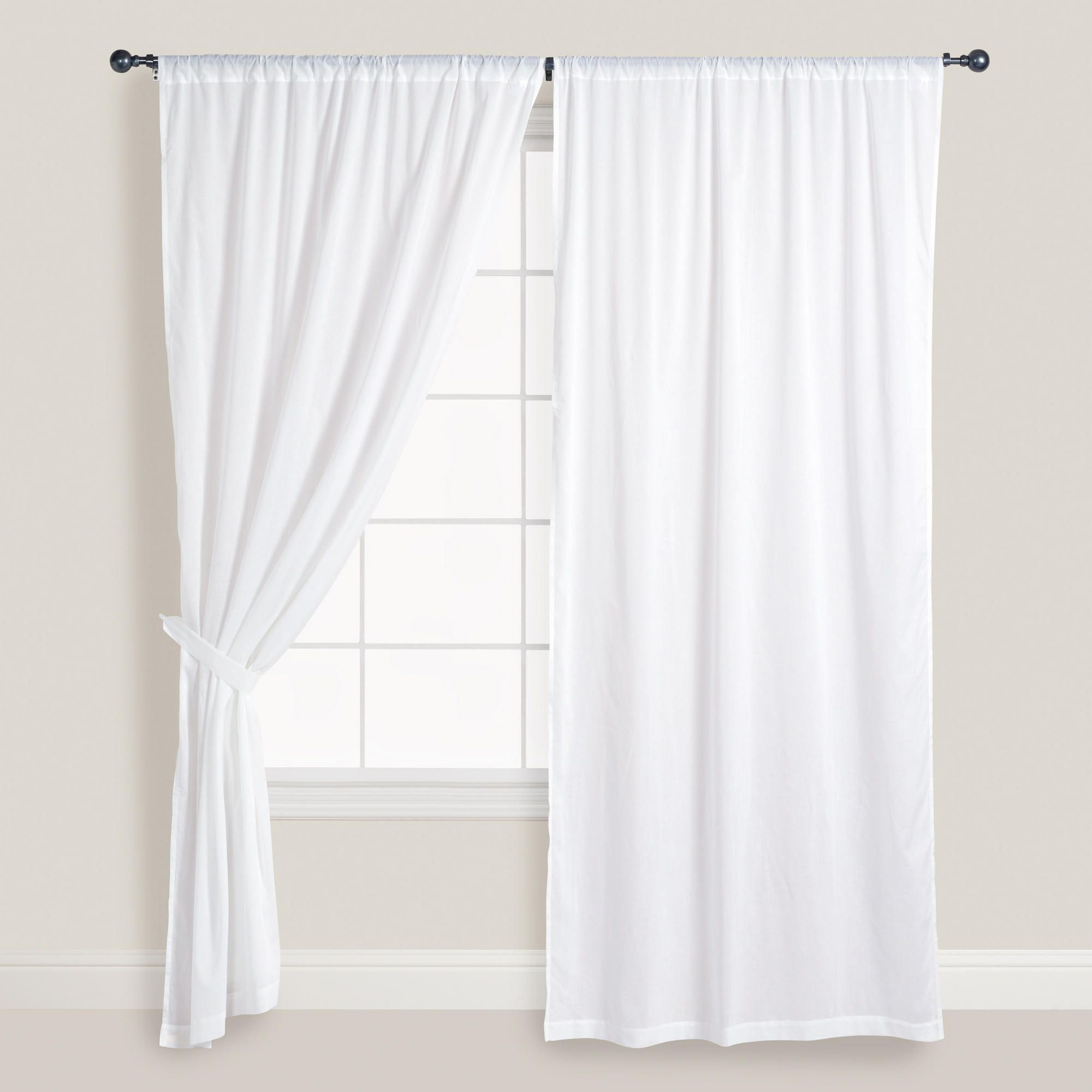 White cotton voile curtains set of 2 window doors and for Window voiles