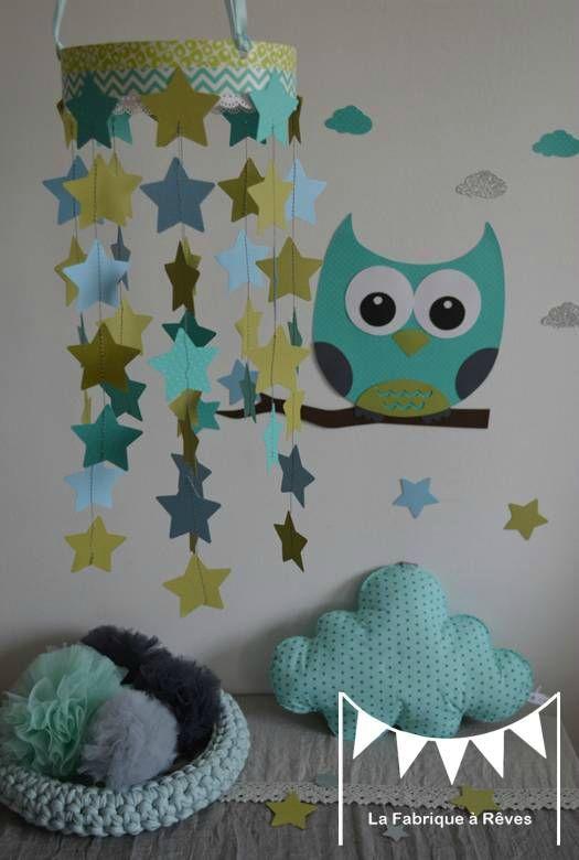 mobile étoiles turquoise vert anis bleu ciel décoration chambre ...