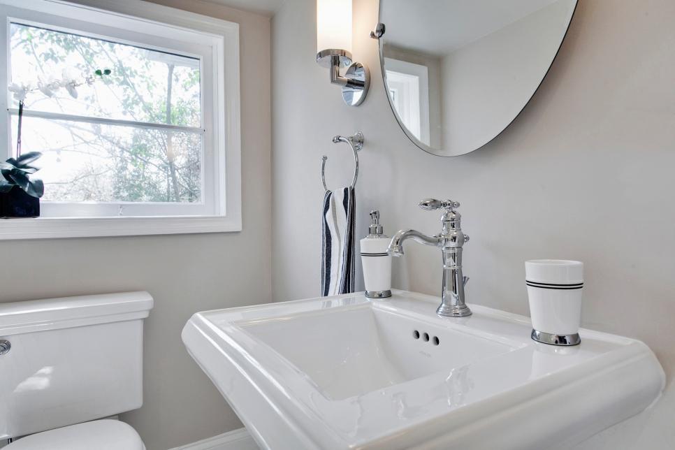 Square Pedestal Sink With Black White Accessories White