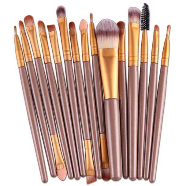 High Quality HOT 15 Pcs/Sets Make Up Brushes 13~15cm Professional  Eye Shadow Foundation Eyebrow Lip Brush Makeup Brushes Tool – Gold