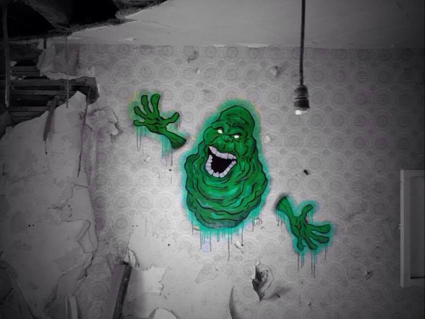 Nme1, Slimer from Ghostbusters in Derelict Building in Dawlish, UK, 2016