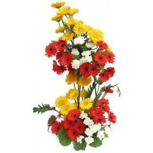24 Mix Gerberas In 2 Tier Flower Arrangements Flowers Online Flowers