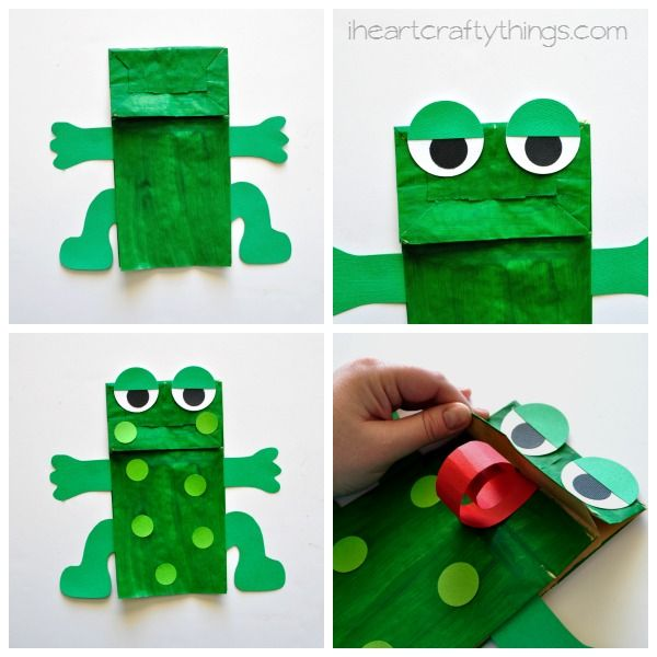 Paper Bag Frog Puppet with Free Pattern |  Preschool  | Frog