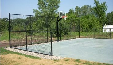 Basketball Court Black Vinyl Chain Link Fencing Basketball Court Backyard Outdoor Basketball Court Backyard Basketball