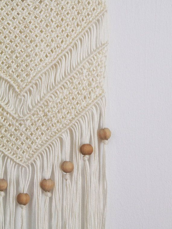 Macrame Wall Hanging With Wooden Beads Unique By Knotinterior Vintage Macrame Wall Hanging Easy Diy Wall Hanging Wall Hanging