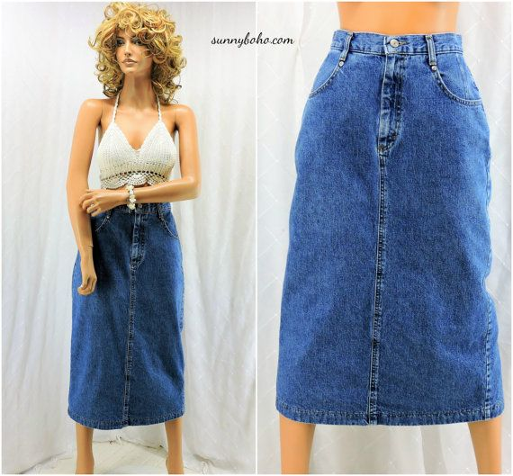 85fdc03a28 80s denim skirt size 7 / 8 retro 1980s Lee by SunnyBohoVintage   80s ...