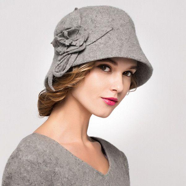Flower cloche hat for women wool winter bowler bucket hats  49a2a872ab1c
