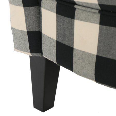 Best Home Black White Chair Club Chairs Plaid Fabric 400 x 300
