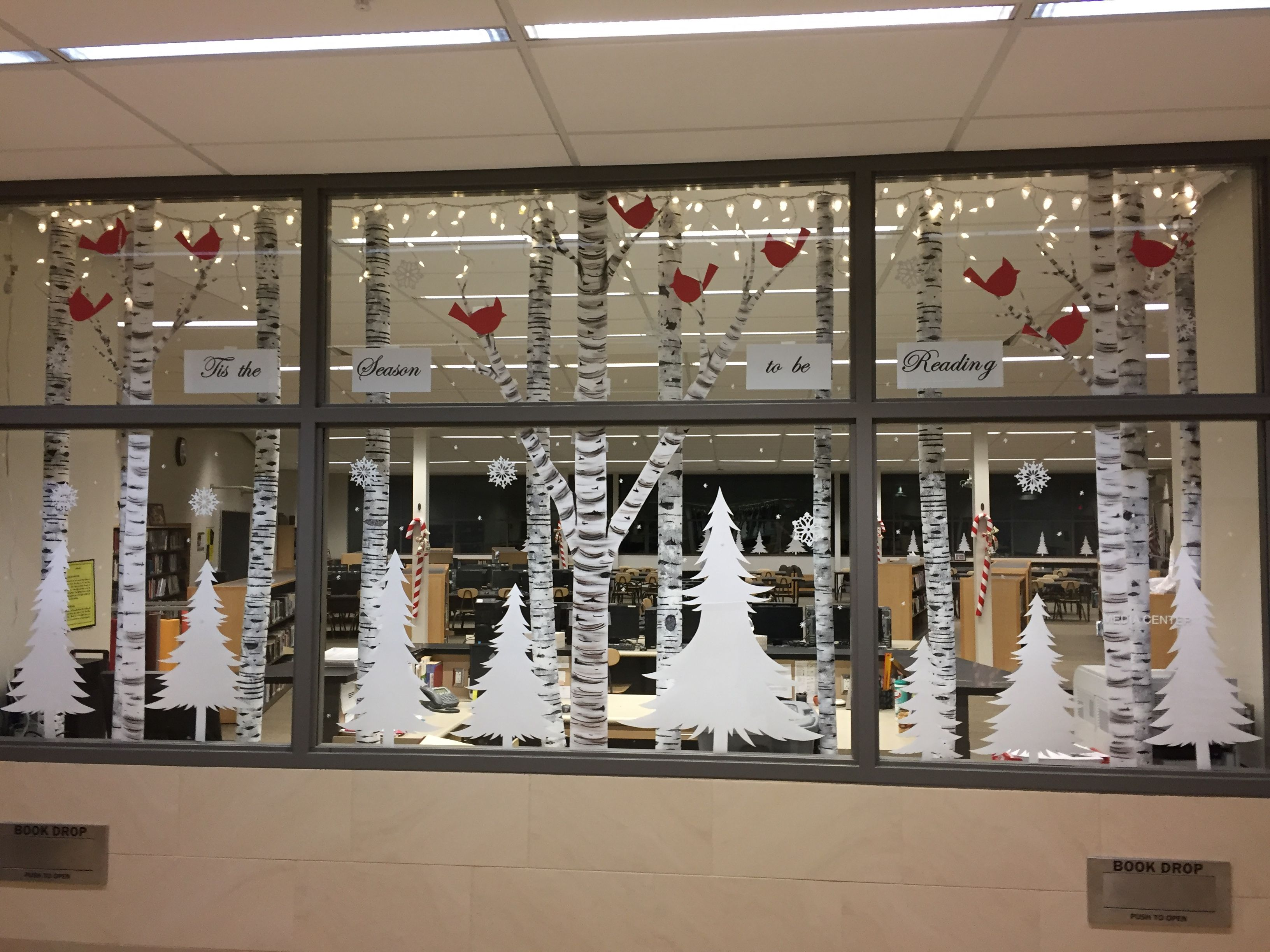 Library Christmas, birch trees used pool noodles ...