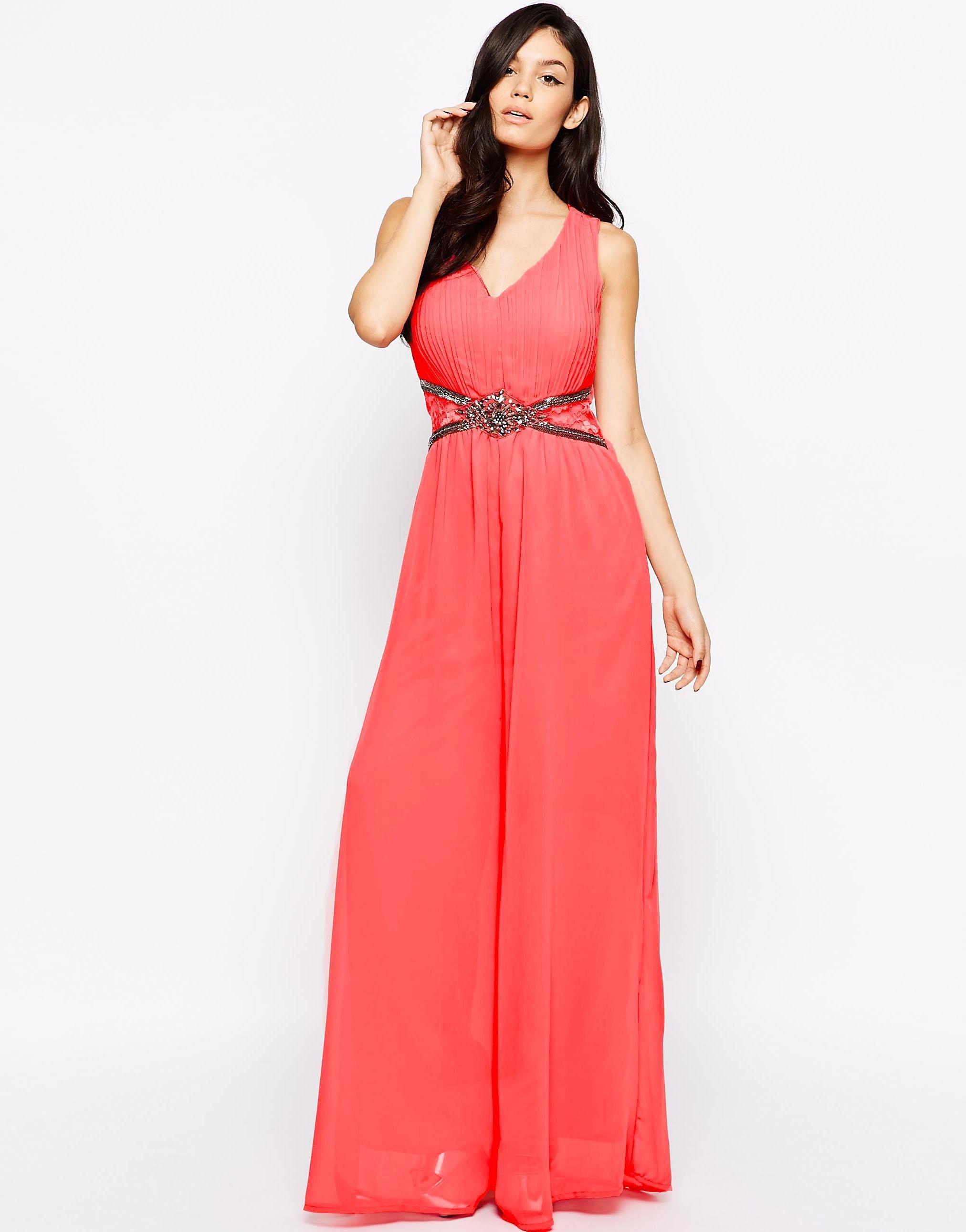 Turquoise Embellished Waist Maxi Dress | Little Mistress