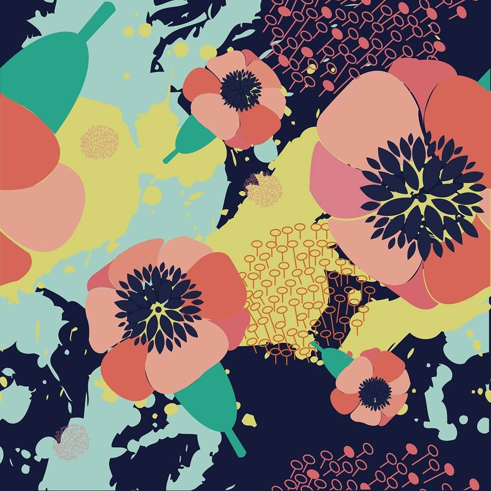Navy Bold Floral Canvas Print - Urban Nest Designs - Urban Nest ...