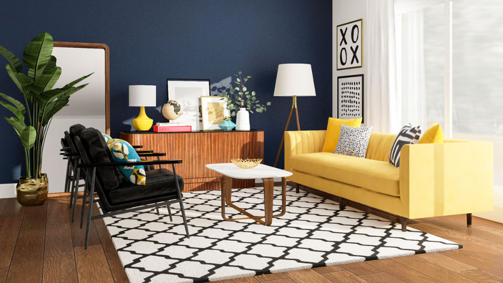 blue walls yellow sofa wood floor - búsqueda de google in 2020 | mid century living room, modern