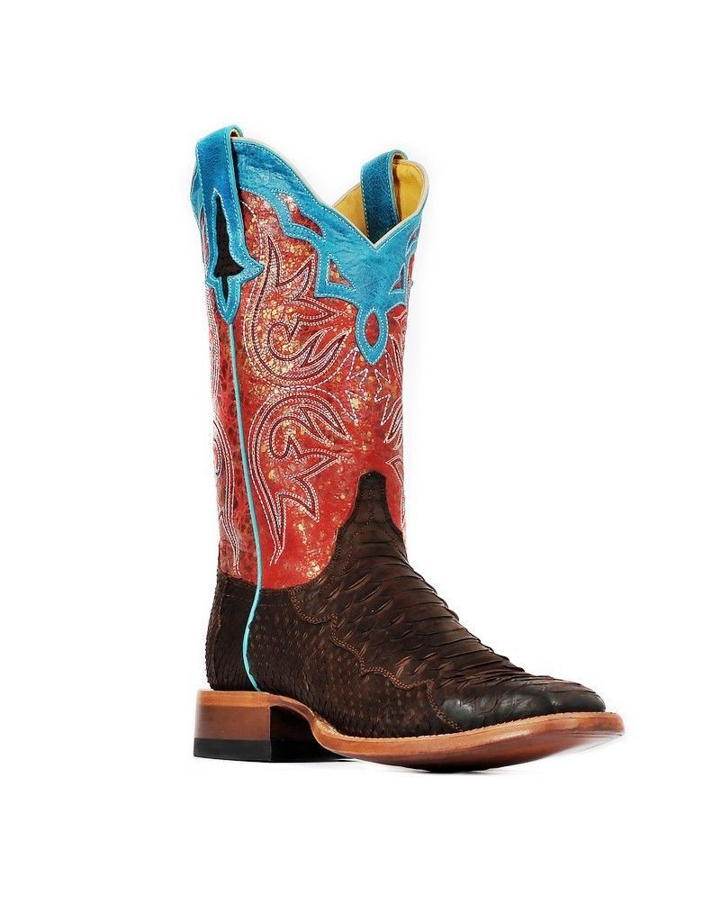 2266c0dfc03 Cinch Western Boots Womens Champion Square Toe Python Chocolate ...