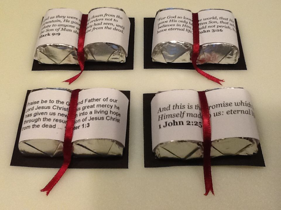 Candy Bibles for my women's group for Easter Black card ...