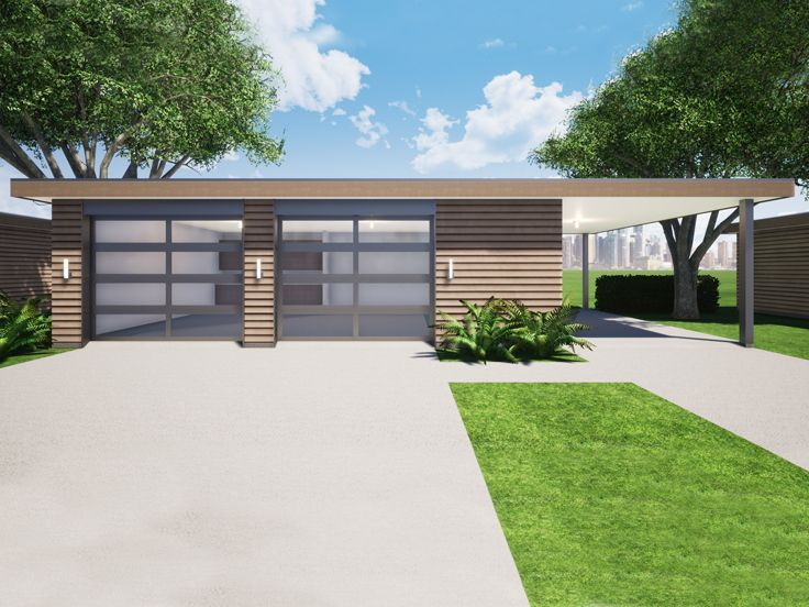 052G0027 Modern Garage Plan with Double Bay, Storage and