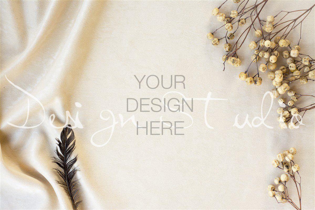 Styled Stock Photography white Background fabric mockup