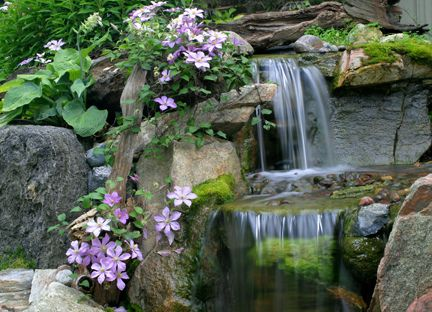 Waterfall With Clematis By Aquascape Ponds U0026 Water Gardens, Via Flickr