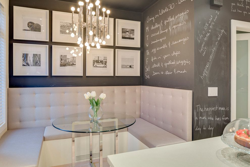 Kitchen Booth Seating Dining Room Contemporary With Banquette Chalkboard Paint Chandelier