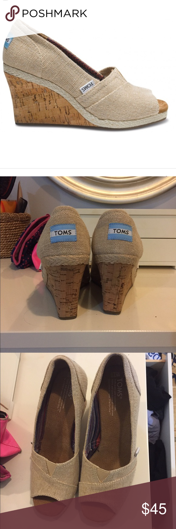 Toms Amery wedge in natural linen Never worn! Comes in box! TOMS Shoes Wedges