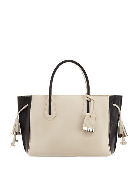 b410d09a8e LONGCHAMP Penelope Medium Colorblock Tote Bag, Ecru Black. #longchamp #bags  #