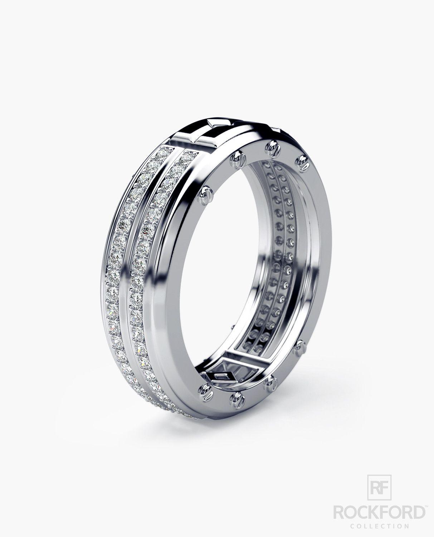 SAN LORENZO Mens Gold Wedding Band with 0.80ct Diamonds