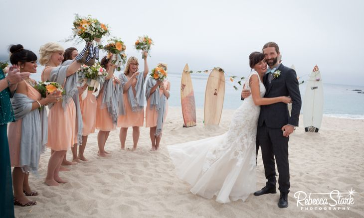 Carmel Wedding On The Beach I Love Peach And Gray Bridesmaids Dresses Www Rebeccastarkphotography
