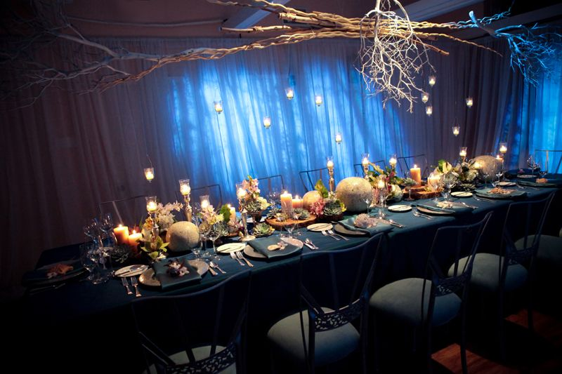 Modern Ocean Theme Wedding Tablescape