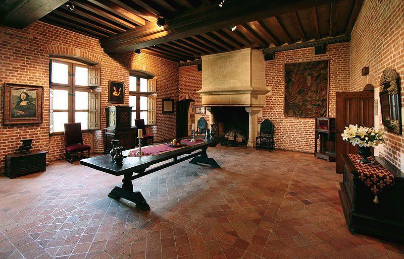 De grote kamer (renaissance zaal) in la Clos Lucé, het huis waar Leonardo da Vinci de laatste jaren van zijn leven woonde en werkte. (in Amboise, Frankrijk)