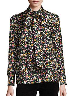 d07097db78fb Tory Burch - Azra Silk Floral-Print Tie-Neck Blouse