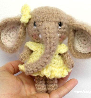 Mini amigurumi elephant pattern from móhu store. #crochet | Easy ... | 407x380