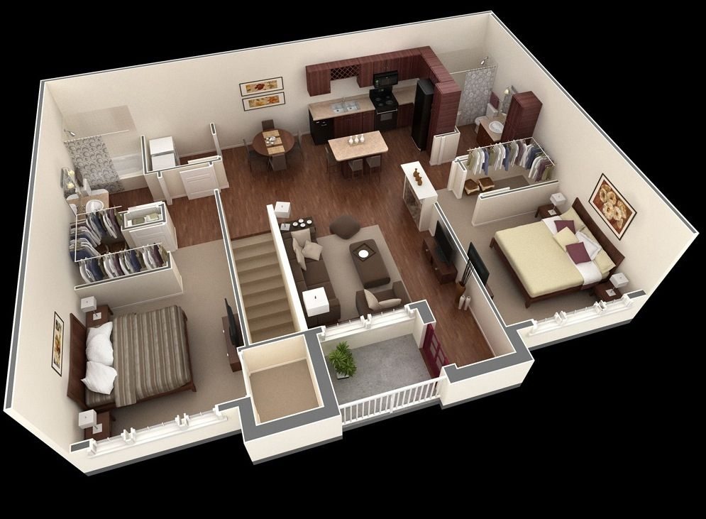 2 Bedroom House Designs Free 3D Floor Planfree Layout Design For Your House Or