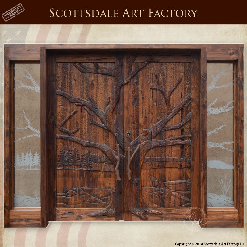 Hand Carved Wood Doors Tree Design Nature Double Door Entrance Solid Handcrafted In America At Artfactory Any Size Custom