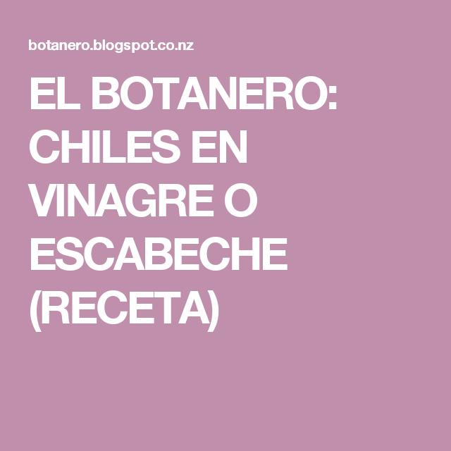 EL BOTANERO: CHILES EN VINAGRE O ESCABECHE (RECETA)