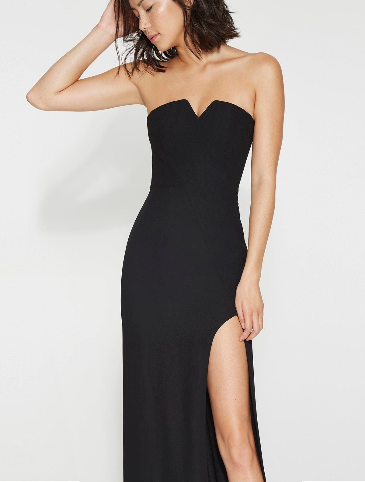 015efc9d49f87 Strapless Crepe Gown With Slit - Halston Heritage | Fierce Fashion ...